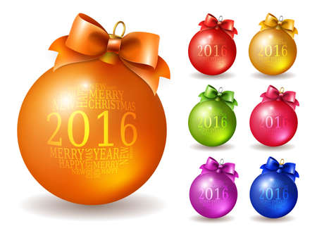 balls decorated: Set of vector colored Christmas balls, decorated with bow and inscription in 2016, isolated on white