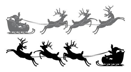 claus: Black vector silhouette, Flying Santa Claus in a reindeer sleigh