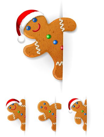 set of Christmas gingerbread mans looks out from behind a vertical white paper sheet