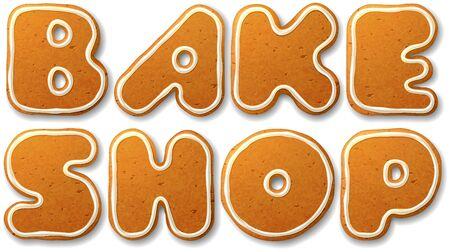 bake: Bake shop. Vector inscription, decorated white icing, isolated on white Illustration
