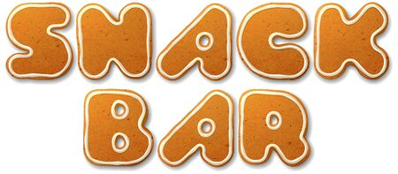 snack bar: Snack bar. Vector inscription, decorated white icing, isolated on white