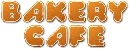 gingerbread cake: Bakery cafe inscription