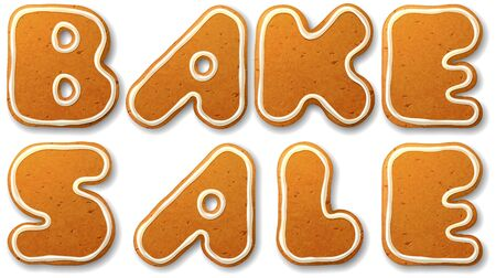 bake: Bake sale. Vector inscription, decorated white icing, isolated on white