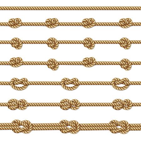 Gele twisted touw grens set, geïsoleerd op wit, illustratie