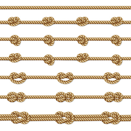 Yellow twisted rope border set, isolated on white, illustration