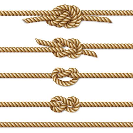 Yellow twisted rope border set, isolated on white, illustration