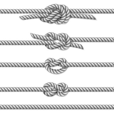 rope border: White twisted rope border set, isolated on white, illustration Illustration