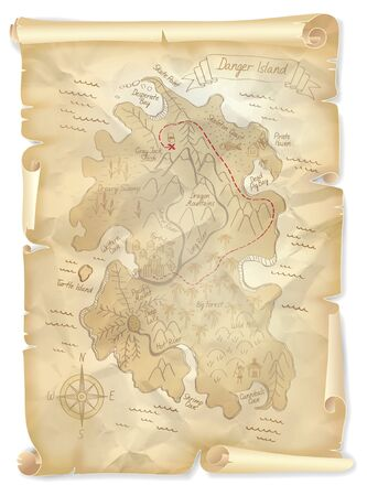 ancient map: Old pirates treasure island map with marked location, illustration Illustration
