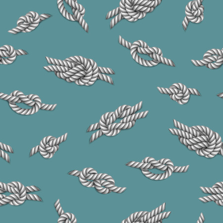 Seamless pattern with white ropes and marine knots over green background, illustration