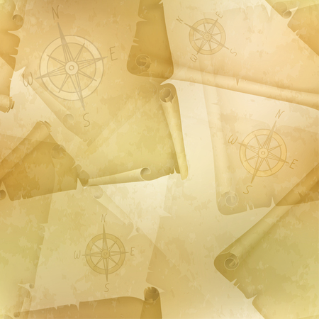 manuscripts: Yellow seamless texture with a compass and old manuscripts, illustration Illustration