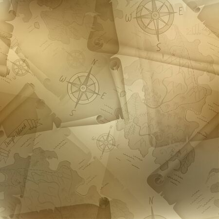 manuscripts: Brown seamless texture of old map of Treasure Island with a compass and manuscripts, illustration