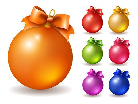 balls decorated: Set of vector colored Christmas balls, decorated with bow