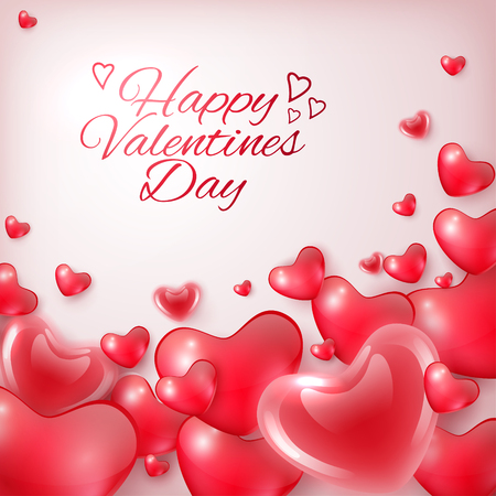 Happy Valentines Day greeting card template with hearts and inscription, festive background, vector illustration