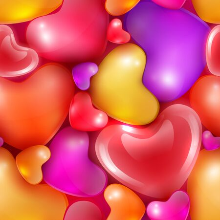 sized: Seamless pattern with different sized hearts to Happy Valentines day