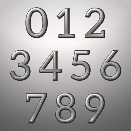 convex: Silver convex metallic numbers on a silver background, vector illustration
