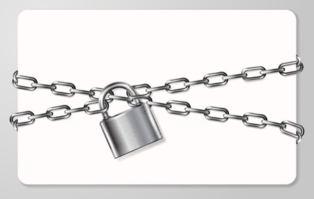 handcuffed: The gray metal chain and padlock, handcuffed card, vector illustration