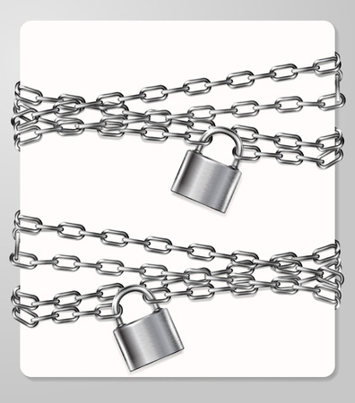 handcuffed: Set of the gray metal chain and padlock, handcuffed card, vector illustration