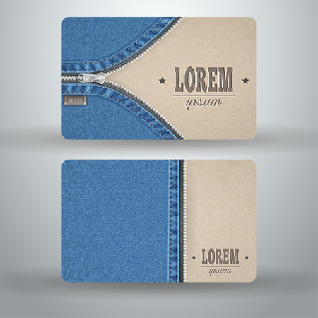 unbuttoned: Business card template from cardboard and denim