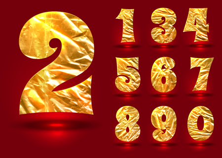 3 5 years: Vector - Set of numbers, made of crumpled foil, vector illustration