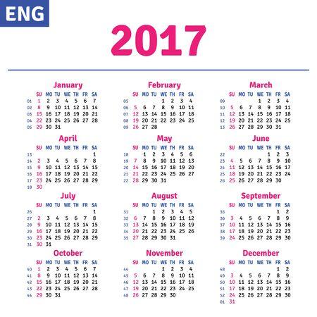 quarterly: English calendar 2017, horizontal calendar grid, vector