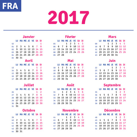 French calendar 2017, horizontal calendar grid, vector