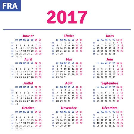 Franse kalender 2017 horizontale kalender raster, vector