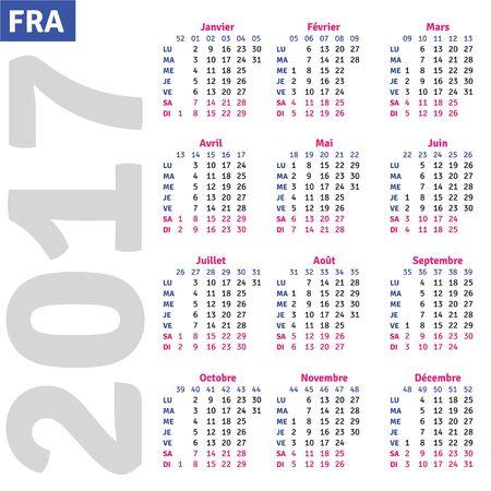 quarterly: French calendar 2017, vertical calendar grid, vector Illustration