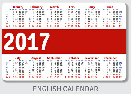pocket pc: English pocket calendar for 2017, standard size ISO 7810 ID-1, vector template