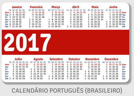pocket pc: Portuguese Brazilian pocket calendar for 2017, standard size ISO 7810 ID-1, vector template Illustration