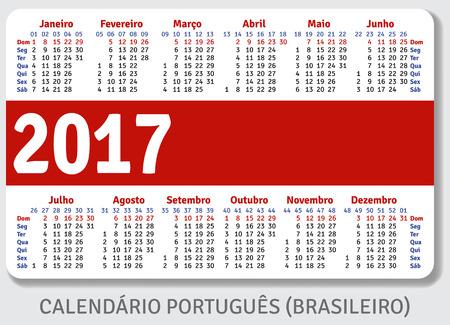standard size: Portuguese Brazilian pocket calendar for 2017, standard size ISO 7810 ID-1, vector template Illustration