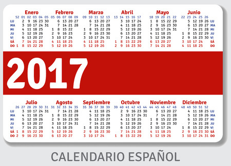 standard size: Spanish pocket calendar for 2017, standard size ISO 7810 ID-1, vector template