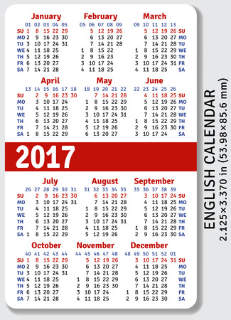 standard size: English pocket calendar for 2017, standard size ISO 7810 ID-1, vector template