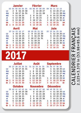 Franse zak kalender voor 2017, standaard formaat ISO 7810 ID-1, vector sjabloon Stock Illustratie