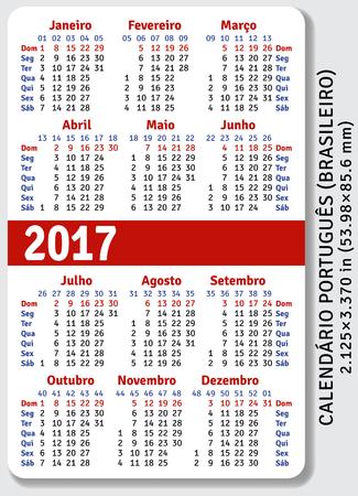 pocket size: Portuguese Brazilian pocket calendar for 2017, standard size ISO 7810 ID-1, vector template Illustration