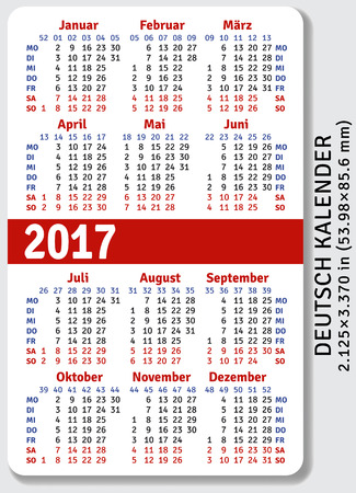 pocket size: German pocket calendar for 2017, standard size ISO 7810 ID-1, vector template