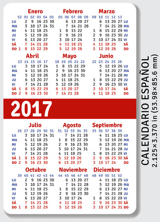 pocket pc: Spanish pocket calendar for 2017, standard size ISO 7810 ID-1, vector template