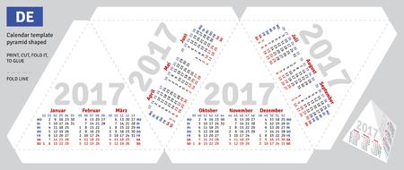 deutsch: Template german calendar 2017 pyramid shaped, vector