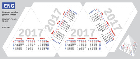 quarterly: Template english calendar 2017 pyramid shaped, vector