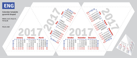 schedulers: Template english calendar 2017 pyramid shaped, vector