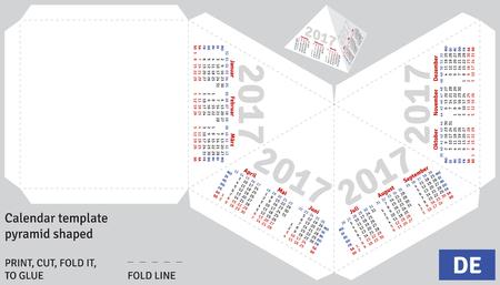 shaped: Template german calendar 2017 pyramid shaped, vector