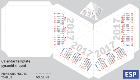 shaped: Template spanish calendar 2017 pyramid shaped, vector Illustration