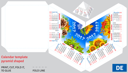 quarterly: Template german calendar 2017 by seasons pyramid shaped, vector background