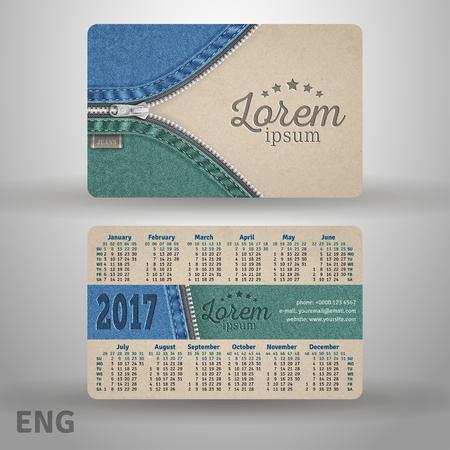quarterly: English pocket calendar for 2017 from cardboard and denim, template