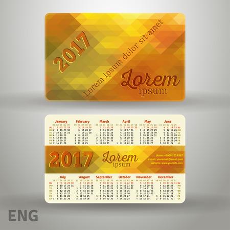 English pocket golden colors calendar for 2017, template Illustration