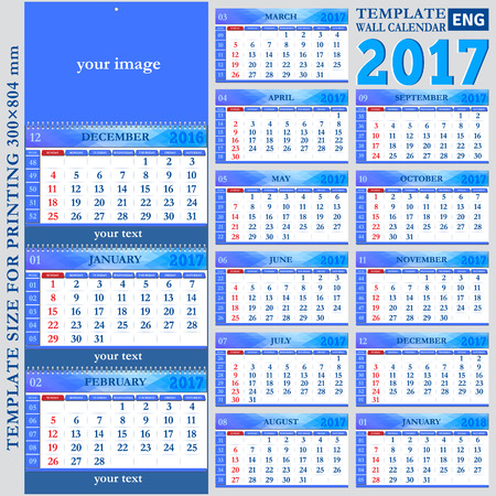 quarterly: English template wall quarterly calendar 2017, template size for printing 300?804 mm, vector