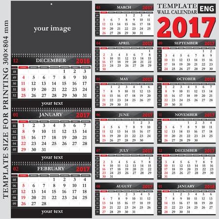 English Template Wall Quarterly Calendar 2017 Template Size