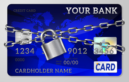 De grijze metalen ketting en slot, handboeien credit card, vector illustration