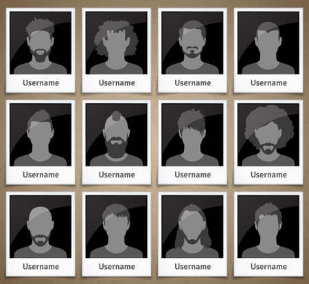 Set of male avatars in the form of picture frames with silhouettes Illustration