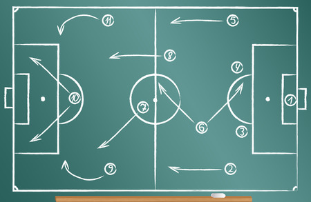 Football tactics scheme drawn on the blackboard Illusztráció