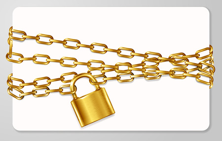 handcuffed: The golden metal chain and padlock, handcuffed card, illustration